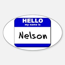 hello my name is nelson Oval Decal