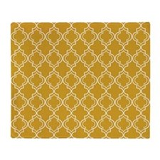 Moroccan Tile in Tile Sq W Gold Throw Blanket
