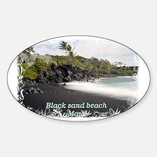 Black sand beach Sticker (Oval)