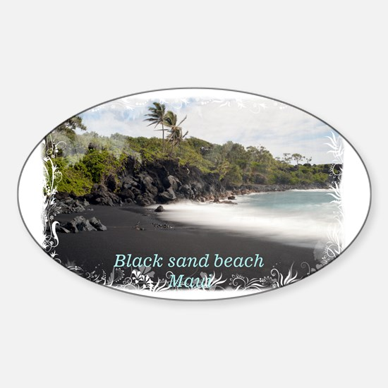 Black sand beach Sticker (Oval)