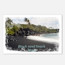 Black sand beach Postcards (Package of 8)