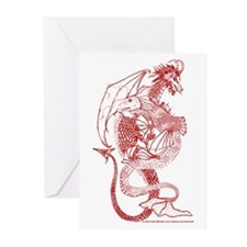 Elemental Dragons Rust Greeting Cards (Package of
