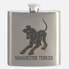 Manchester Terrier - Button Ears Flask