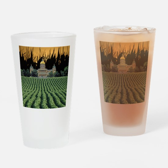 Iowa Capital among Corn  Soybeans Drinking Glass