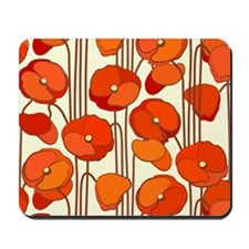Beautiful Red Poppies Retro Floral Mousepad