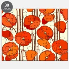 Beautiful Red Poppies Retro Floral Puzzle