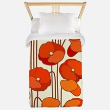 Beautiful Red Poppies Retro Floral Twin Duvet
