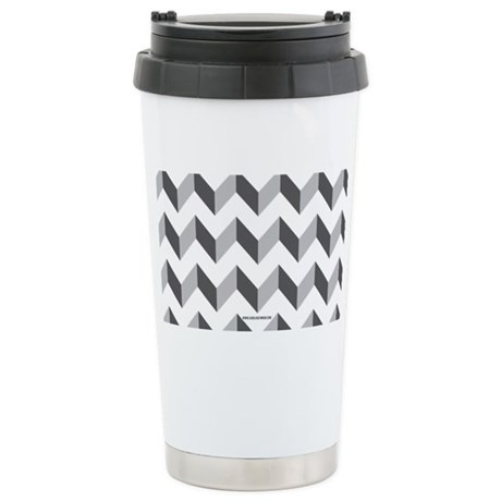 Chevron Grey Zig Zag Stainless Steel Travel Mug