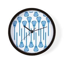 Blue Lacrosse Stick Pattern Wall Clock