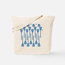 Blue Lacrosse Stick Pattern Tote Bag