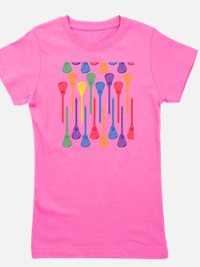 Rainbow Lacrosse Stick Pattern Girl's Tee