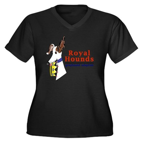 Royal Hounds Women's Plus Size Dark V-Neck T-Shirt