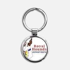 Royal Hounds Greyhound Adoption Log Round Keychain