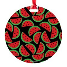 Cute Watermelon On Summer Colors (7 Round Ornament