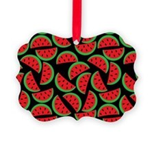 Cute Watermelon On Summer Colors  Picture Ornament