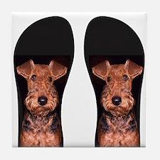 airedale flip flops Tile Coaster