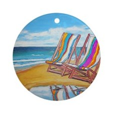 Beach Chair Reflection Round Ornament