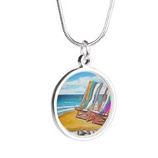 Beach Chair Reflection Silver Round Necklace