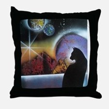 Kitty Midnight2 Throw Pillow