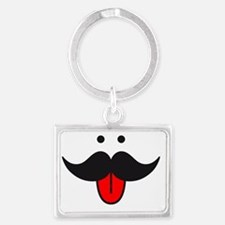 mustache face design with red t Landscape Keychain