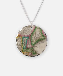 Vintage Map of New England ( Necklace