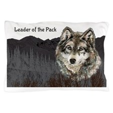 Leader of the Pack with Grey Wolf wate Pillow Case