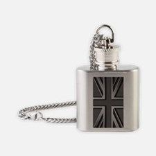 Union Jack Brushed Metal Flag Flask Necklace