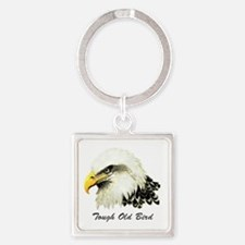 Tough Old Bird Quote with Bald Eag Square Keychain