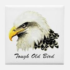 Tough Old Bird Quote with Bald Eagle Tile Coaster