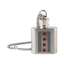 Chicago Flag Brushed Metal Flask Necklace
