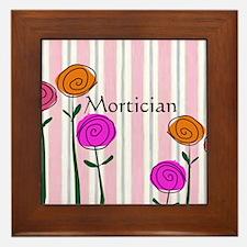 Mortician floral roses Framed Tile