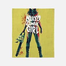 Naked Zombie Girl Throw Blanket