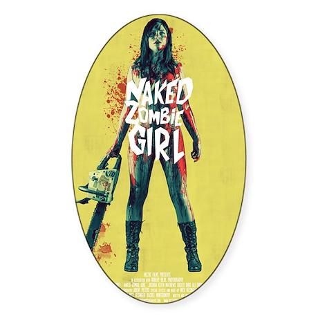 Naked Zombie Girl Sticker (Oval)