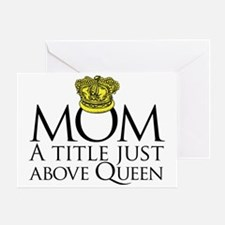MOM - A title just above queen Black Greeting Card