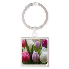 Dutch Tulips Square Keychain