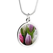 Dutch Tulips Silver Round Necklace
