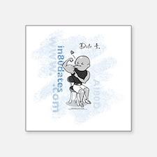 """AI80D_date4_white-blue Square Sticker 3"""" x 3"""""""