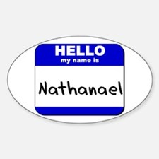 hello my name is nathanael Oval Decal