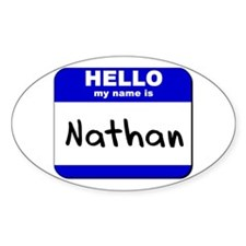 hello my name is nathan Oval Decal