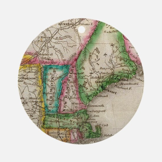 Vintage Map of New England (1822) Round Ornament
