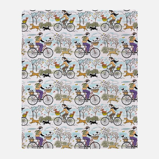 bike_riders_shower_curtain Throw Blanket