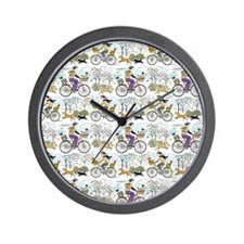 bike_riders_shower_curtain Wall Clock