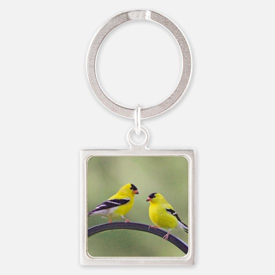 Gold Finches Square Keychain