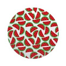 Cute Watermelon On Summer Colors (8 Round Ornament
