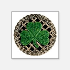 "Shamrock And Celtic Knots Square Sticker 3"" x 3"""