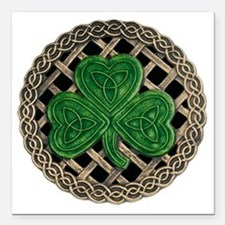 "Shamrock And Celtic Knot Square Car Magnet 3"" x 3"""