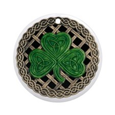 Shamrock And Celtic Knots Round Ornament