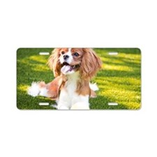 Happy Cavalier King Charles Aluminum License Plate
