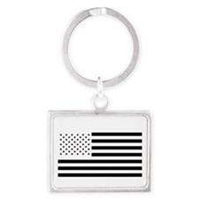 Black and White American Flag Landscape Keychain