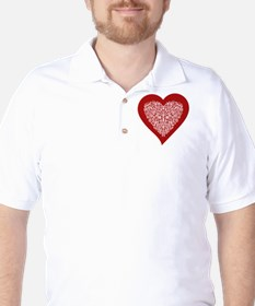 Red sparkling heart with detailed white Golf Shirt